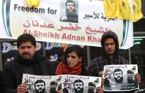 Palestinians protest against the detention of Khader Adnan (6 February 2011)
