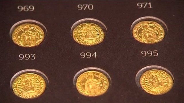 Gold coins on display in Poland