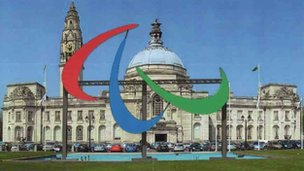 How the Paralympic agitos will look outside Cardiff City Hall