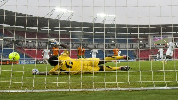 Asamoah's Gyan's penalty is saved by Kennedy Mweene