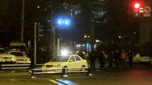 Police outside US consulate in Chengdu on 7 February (Image supplied to BBC via micro-blog)