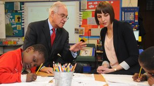 Sir Michael visiting a school in Honour Oak, south east London