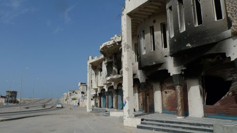 Damaged building in Sirte