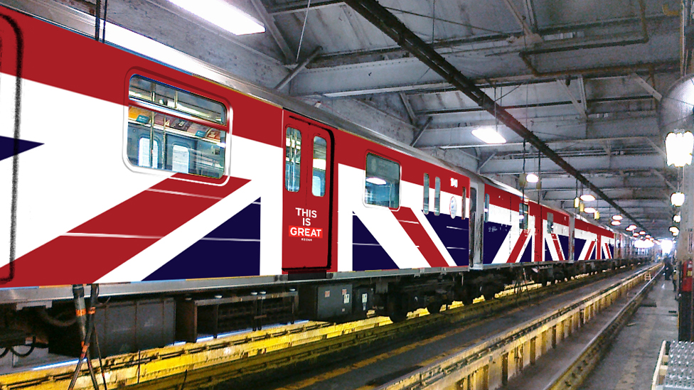 How a New York subway train will look when branded in the British flag