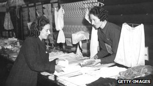 Women in a clothes shop during World War II