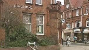 Lloyds Bank in Felixstowe in 1993