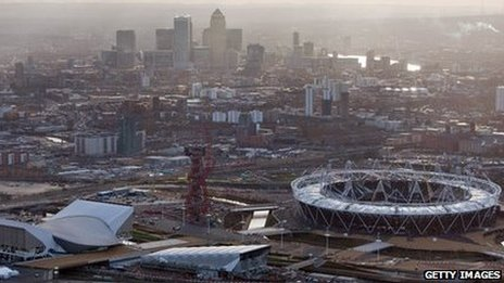 East London skyline including Olympic Park.