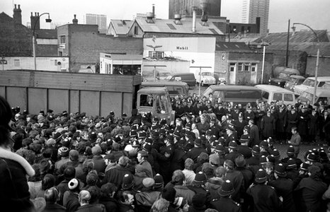 Miners attempt to close the Saltley Coke Depot during their 1972 strike