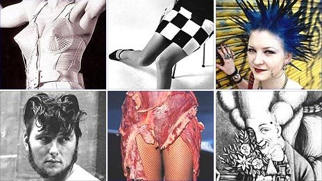 Clockwise from top left: Madonna, punk, macaroni, mini skirt, Lady Gaga, teddy boy