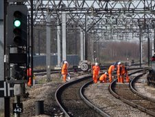 Maintenance work on a railway line