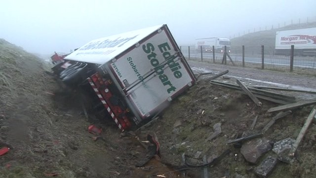 Lorry overturns on A66 Cumbria