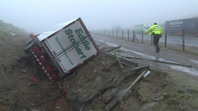 A lorry on its side on the A66