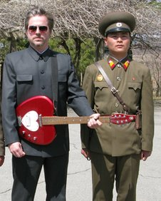 Morten Traavik (left) with North Korean friend