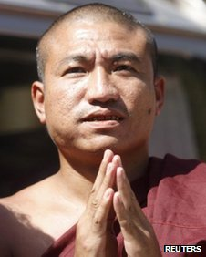 Gambira, leader of the All-Burmese Monks Alliance in Rangoon on 19 January, 2012