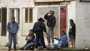 Residents of the Pine Ridge Indian Reservation drinking in Whiteclay, Nebraska, 7 June 2003