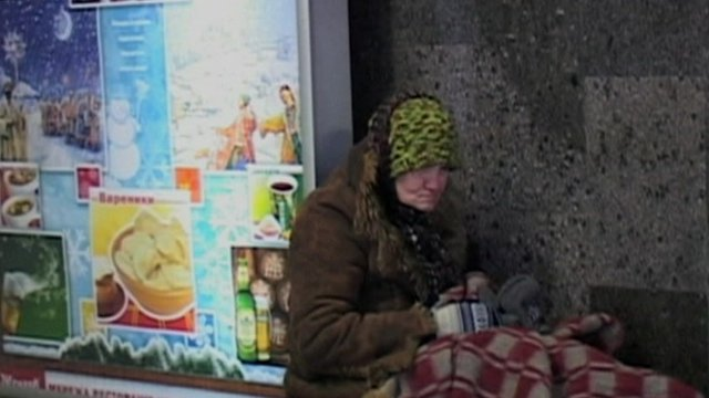 A homeless woman in Ukraine