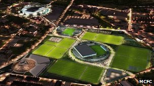 Artist&#039;s impression of Manchester City&#039;s new training facility at night