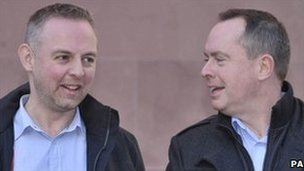 Gay couple Steven Preddy (left) and Martyn Hall outside Bristol County Court