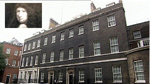 Downing Street. Inset: picture formerly thought to be of Sir George Downing (Crown Copyright - Government Art Collection