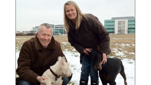 John Wilson and Julie Tottman with two star dogs