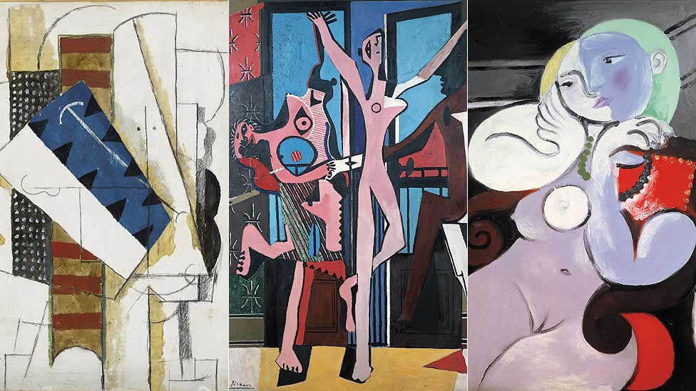 Head of a Man, The Three Dancers and Nude Woman in a Red Armchair by Pablo Picasso
