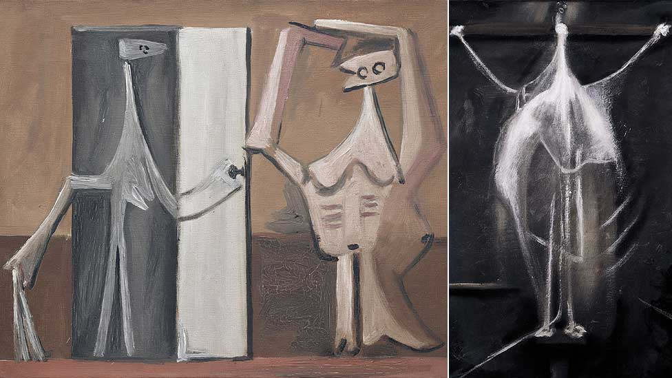 Bathers at the Beach Hut by Pablo Picasso and Crucifixion by Francis Bacon