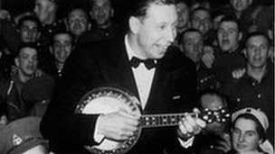 George Formby entertaining troops in 1939