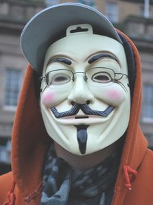 Protester with mask