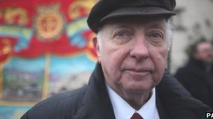 "Former National Union of Miners president Arthur Scargill at the 40th anniversary gathering to remember the ""Battle of Saltley Gate"""