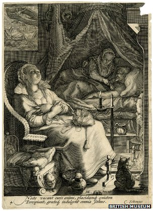 Roger Ekirch says this 1595 engraving by Jan Saenredam is evidence of activity at night