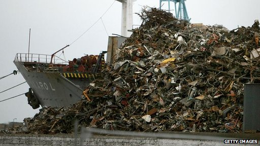 Mountain of metal awaits export abroad from Liverpool