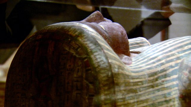 An Egyptian mummy on display