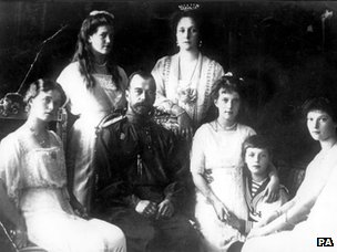 From left: Olga, Marie, Tsar Nicholas II, Tsarina Alexandra, Anastasia, The Tsarevitch and Tatiana