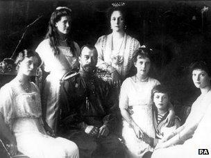 From left: Olga, Marie, Tsar Nicholas II, Tsarina Alexandra, Anastasia, The Tsarevitch and Tatiana