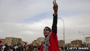 A protester shout slogans during a demonstration against Egypt&#039;s military rulers