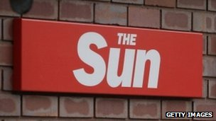 Sun sign at News International offices
