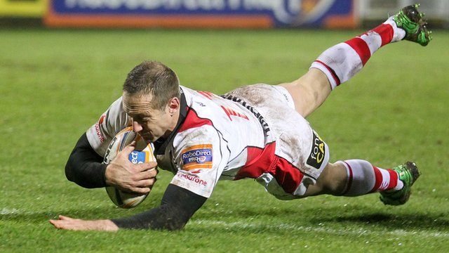 Stefan Tereblanche scores the bonus point try for Ulster against the Dragons