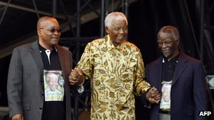 Mr Mandela, seen here with his two successors as president, has now retired from public life