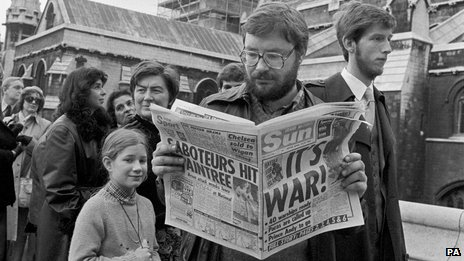 A man reading the Sun in 1982