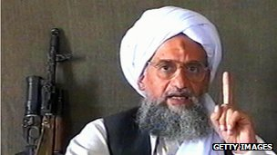 Ayman al-Zawahiri (still from a video, 2005)