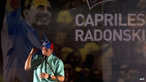 Venezuelan opposition leader Henrique Capriles Radonski speaks after winning the primary elections in Caracas