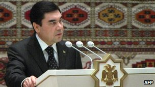 President Kurbanguly Berdymukhamedov speaks in the Turkmenistan capital Ashgabat, 25 October, 2011