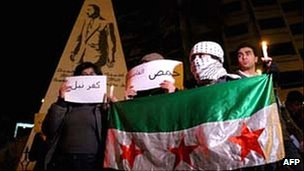 Syrian in Lebanon hold a candlelight vigil in Beirut on 12 February 2012 to show their support for the Syrian people and against the regime of President Bashar al-Assad