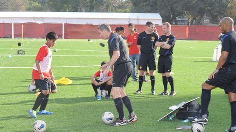 Training session at Manchester United Soccer School in Mumbai, India