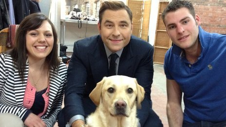 Gina Fidler with David Walliams, her partner Steve Outten and dog Vinnie