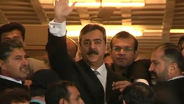 Prime Minister Yousuf Raza Gilani arrives at court