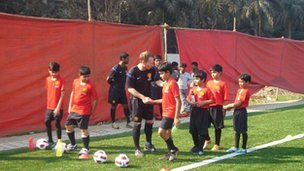 Training session at the Manchester United Soccer school in Mumbai, India.