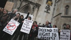 Occupy London protesters outside the court