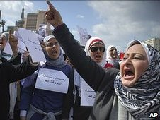 Women shouting in Tahrir Square