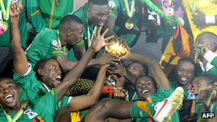Zambian players celebrate beating Ivory Coast 8-7 in a dramatic shoot-out on Sunday's Africa Cup of Nations final in Gabon